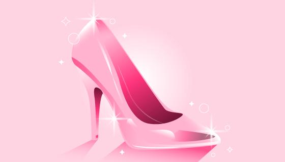 粉色闪亮的水晶鞋矢量素材(AI/EPS)