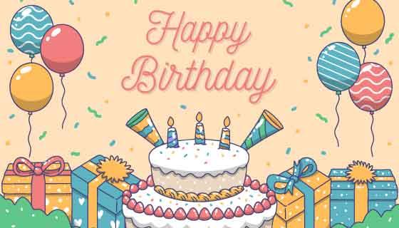 蛋糕气球礼物生日快乐背景矢量素材(AI/EPS)