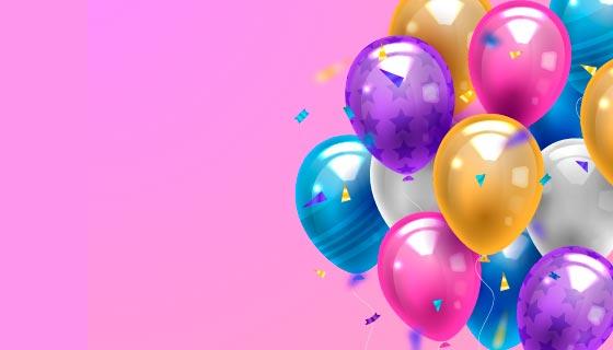 逼真多彩的气球背景/壁纸矢量素材(AI/EPS)
