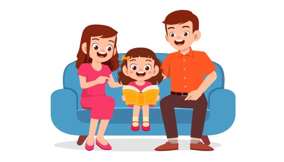 正在陪小女孩看书的父母矢量素材(EPS/PNG)