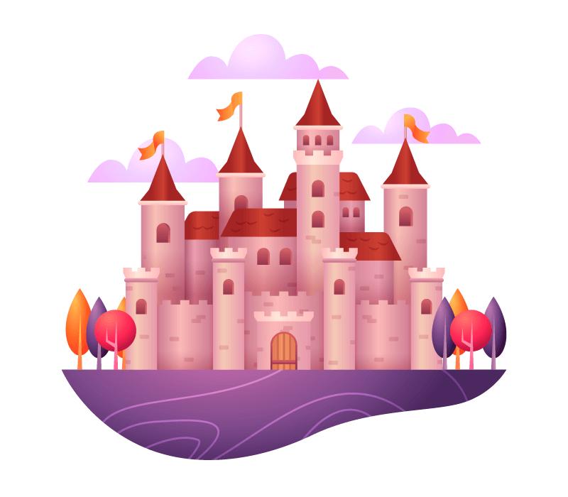 童话城堡矢量素材(AI/EPS/免扣PNG)