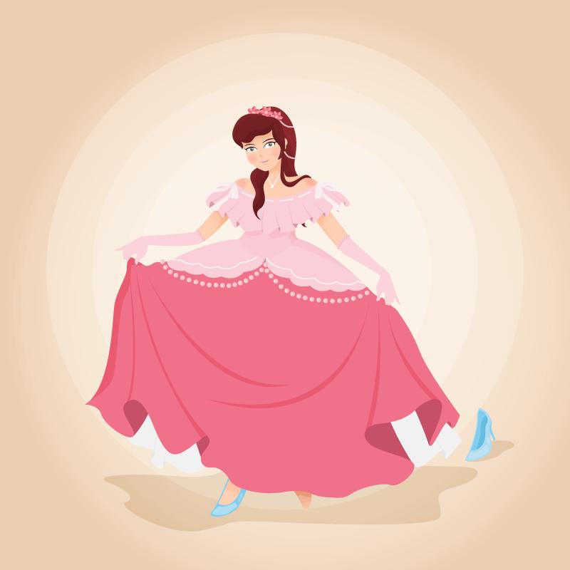 提裙子的灰姑娘公主矢量素材(AI/EPS)