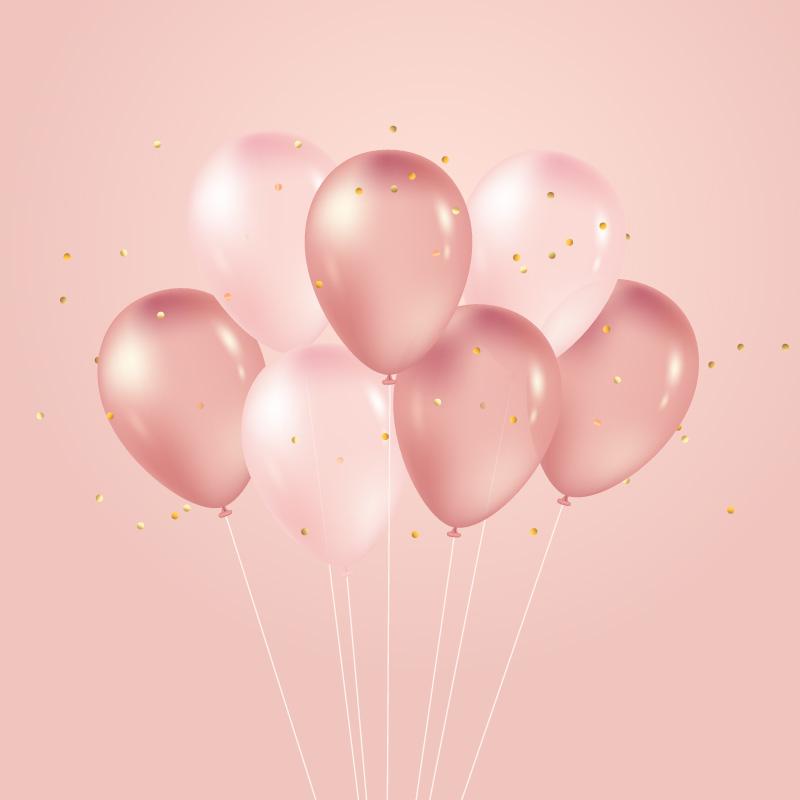 逼真的粉色气球矢量素材(AI/EPS)
