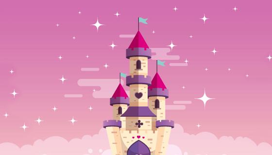 空中的童话城堡矢量素材(AI/EPS)