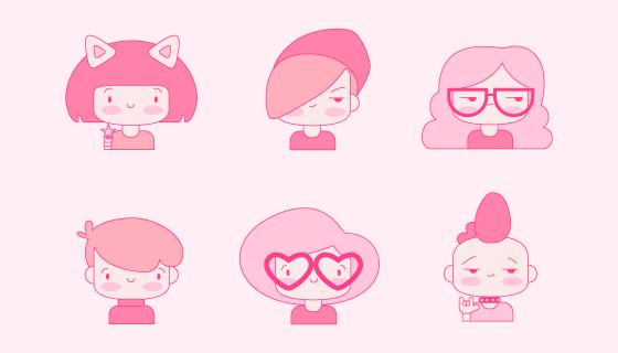 手绘粉色可爱人物头像矢量素材(AI/EPS/PNG)