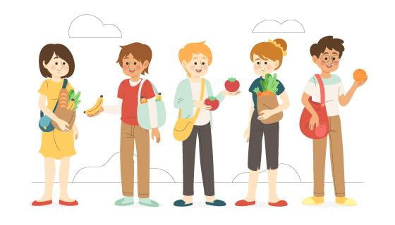 拿着水果和蔬菜的人们矢量素材(AI/EPS/PNG)