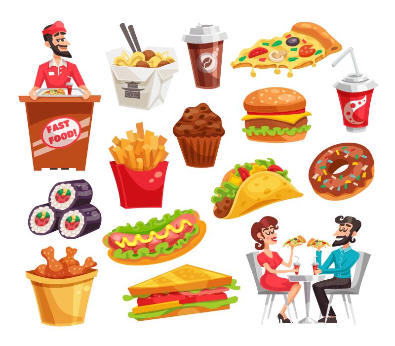 各种各样的美味快餐矢量素材(EPS/免扣PNG)