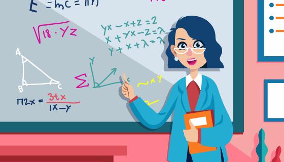 正在上课的数学老师矢量素材(EPS/SVG)