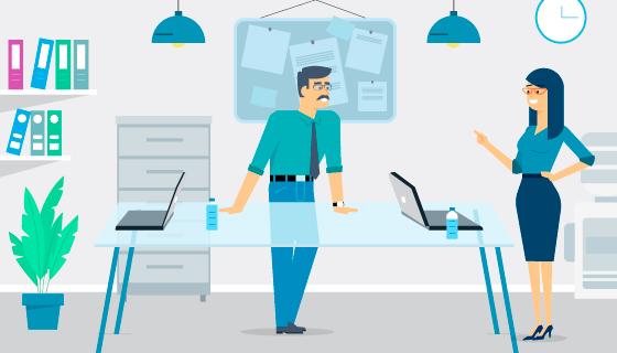 正在办公室讨论工作的两位白领矢量素材(AI/SVG)