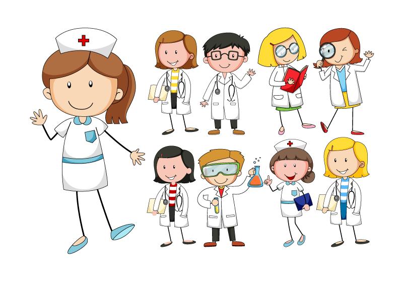 卡通风格可爱的医生和护士矢量素材(EPS/免扣PNG)