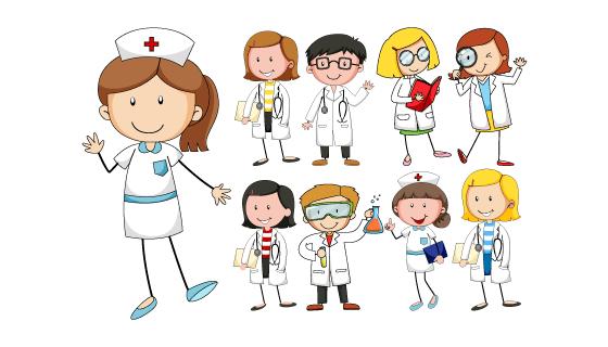 卡通风格可爱的医生和护士矢量素材(EPS/PNG)