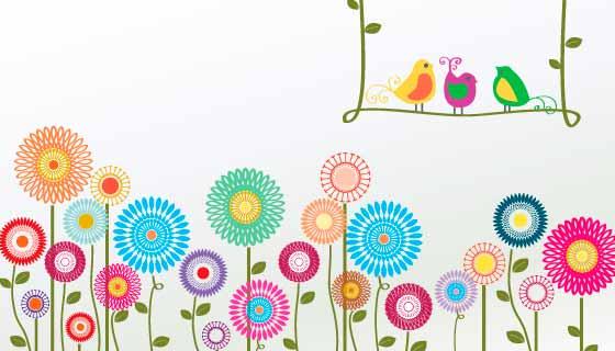手绘花朵和小鸟矢量素材(AI/PNG)