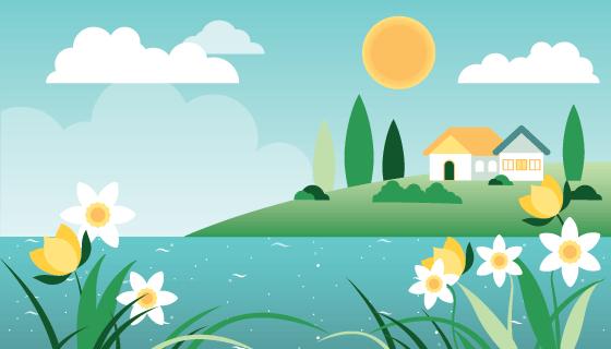 扁平风格漂亮春天景色矢量素材(AI/SVG)