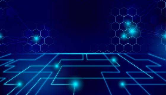 蜂窝和直角线条科技背景矢量素材(AI/EPS)