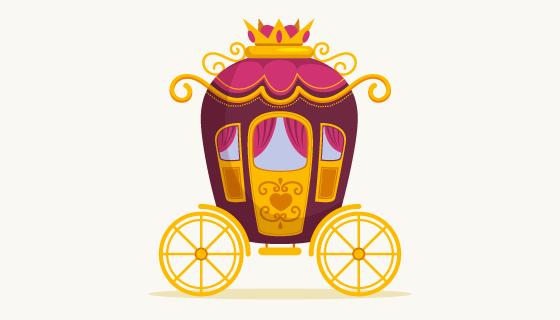 扁平风格的童话马车矢量素材(AI/EPS/PNG)