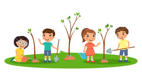 正在种树的孩子们矢量素材(EPS)