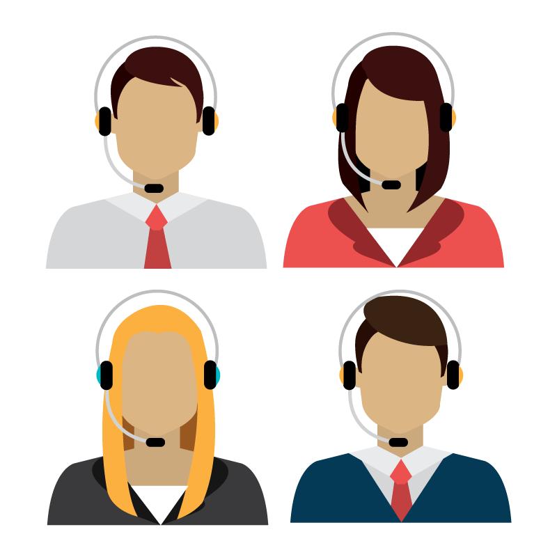 扁平风格客服人员头像矢量素材(EPS/免扣PNG)