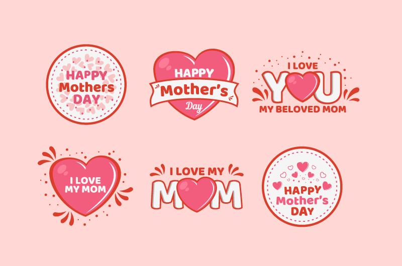 可爱的母亲节标签矢量素材(AI/EPS/免扣PNG)