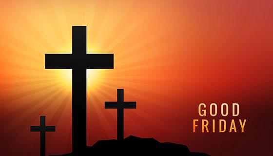 落日下的十字架耶稣受难日矢量素材(EPS)