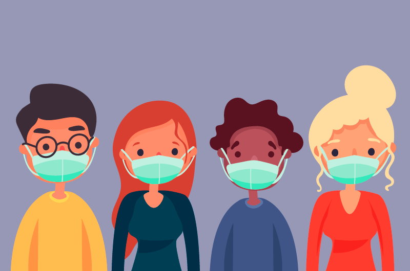 带着口罩的人们矢量素材(AI/EPS)