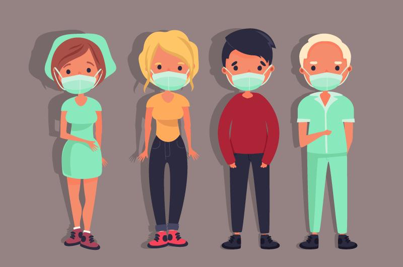 带着口罩的人们矢量素材(AI/EPS/免扣PNG)