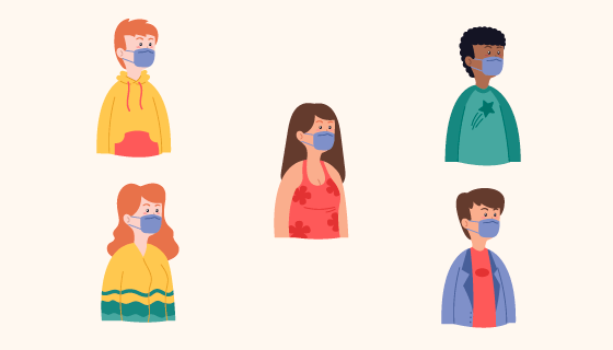带着口罩的人们矢量素材(AI/EPS/PNG)