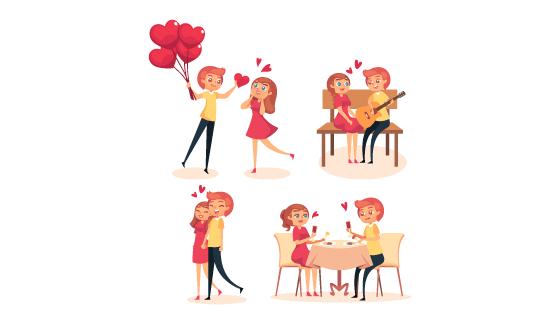可爱浪漫的情侣矢量素材(AI/EPS/PNG)
