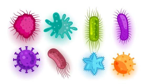 不同形状和颜色的病毒矢量素材(EPS)