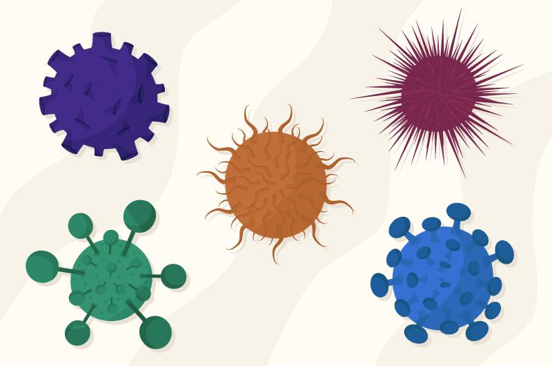 扁平风格不同颜色的病毒矢量素材(AI/EPS/免扣PNG)