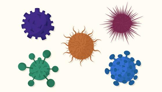 扁平风格不同颜色的病毒矢量素材(AI/EPS/PNG)
