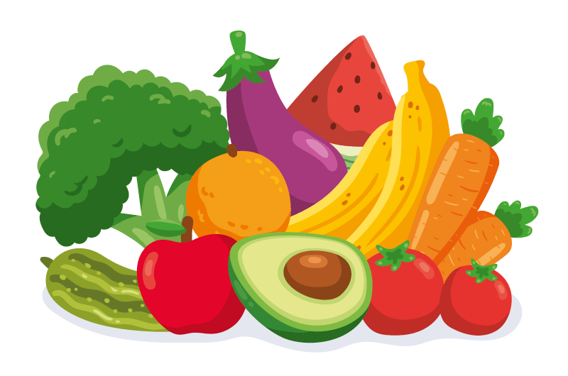 扁平风格的蔬菜和水果矢量素材(AI/EPS/免扣PNG)