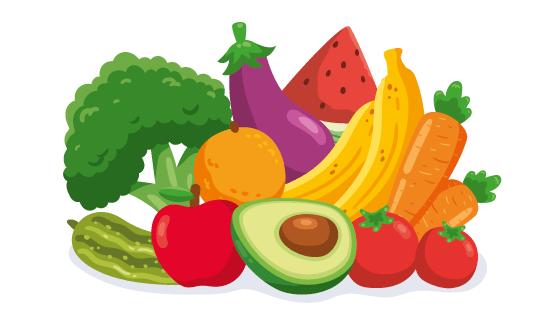 扁平风格的蔬菜和水果矢量素材(AI/EPS/PNG)