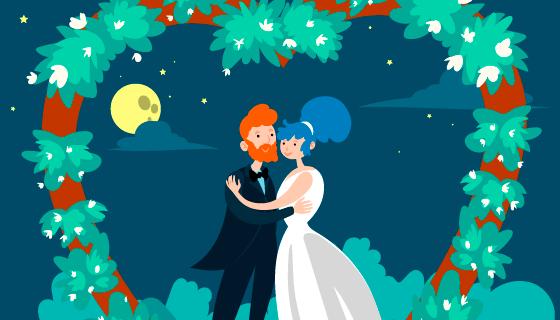 舞台上拥抱的新郎新娘矢量素材(AI/EPS)