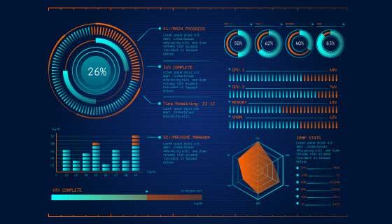 富有科技感大数据信息图表矢量素材(AI/EPS)
