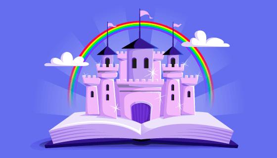 童话般的彩虹城堡矢量素材(AI/EPS)