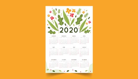 手绘花朵叶子2020年日历矢量素材(AI/EPS)