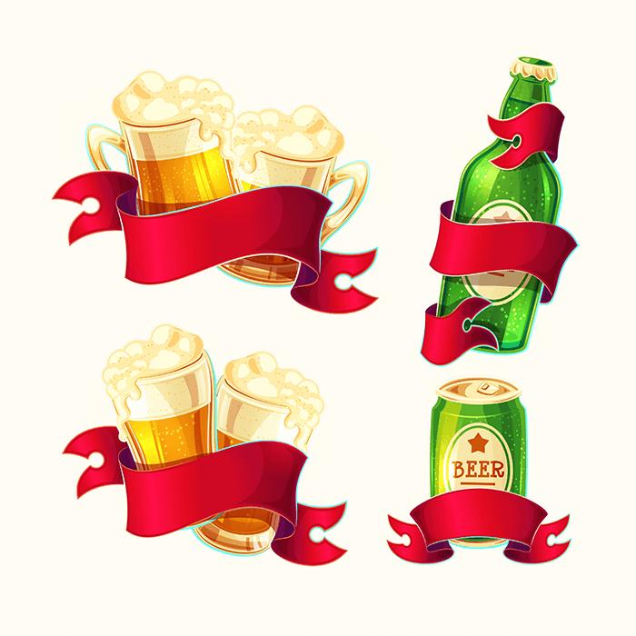 卡通风格啤酒矢量素材(EPS)