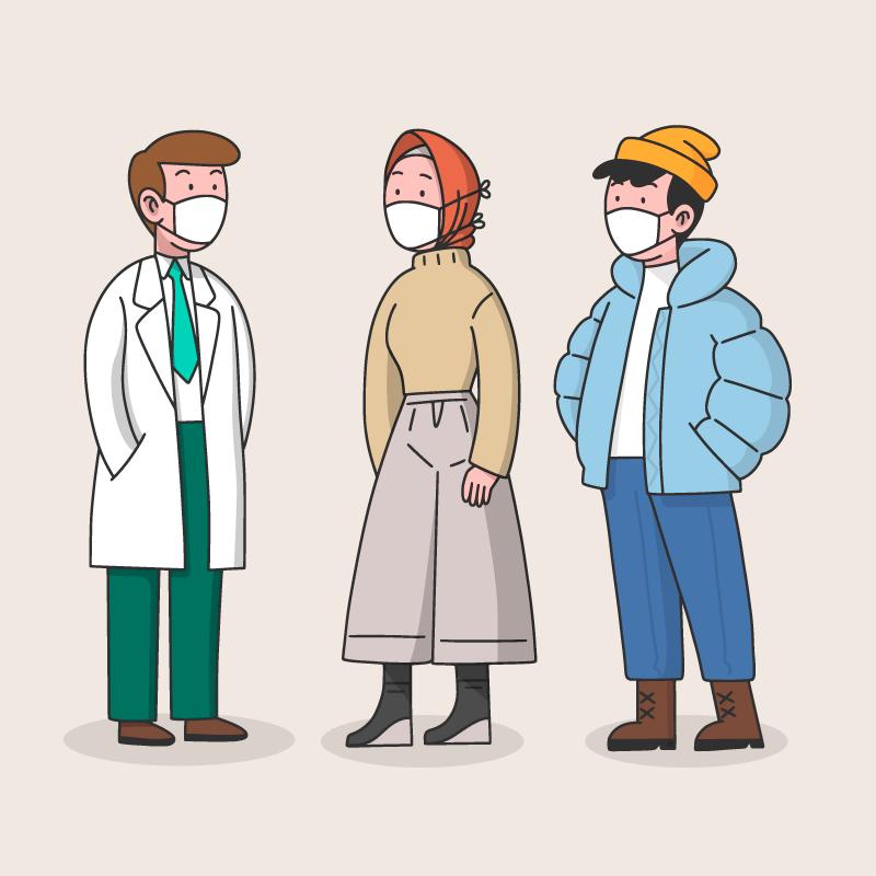 带口罩的人们矢量素材(AI/EPS/免扣PNG)