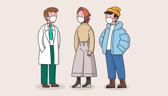 带口罩的人们矢量素材(AI/EPS/PNG)