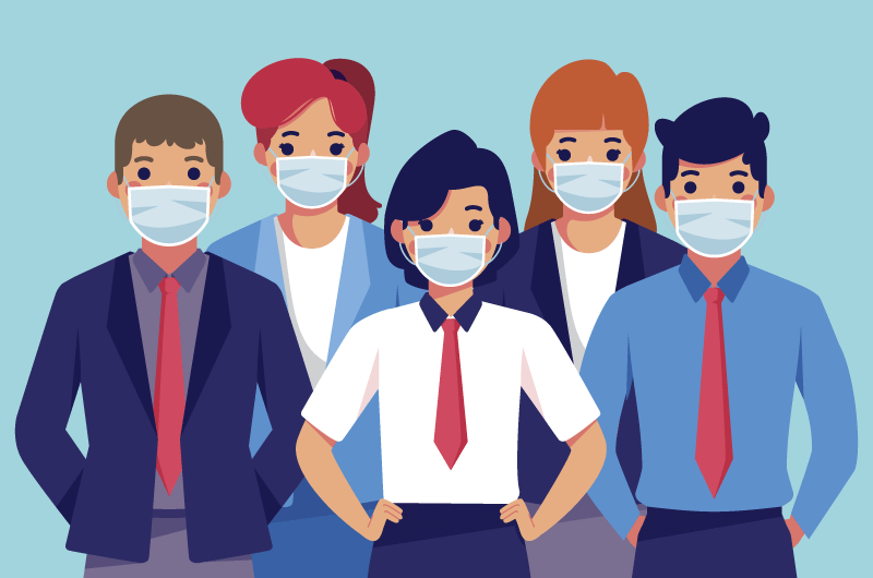带口罩的人们矢量素材(AI/EPS)