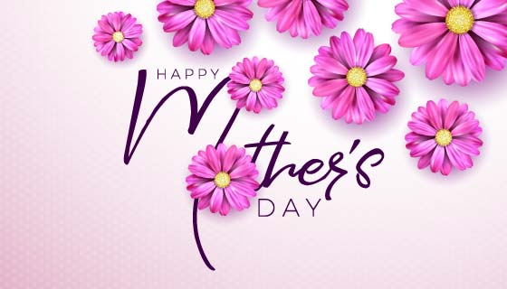 漂亮粉色花朵设计母亲节快乐矢量素材(EPS)