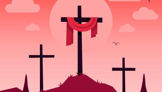 山上的十字架设计圣周矢量素材(AI/EPS)