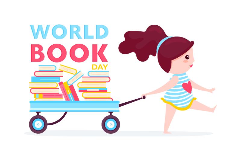 拉着一车书的小女孩矢量素材(AI/EPS)