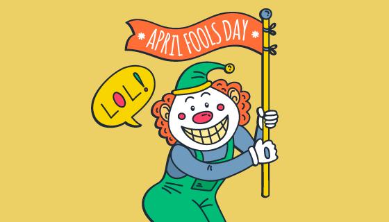 手绘拿着旗子的小丑愚人节矢量素材(AI/EPS/PNG)