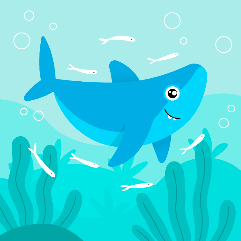 可爱的鲨鱼宝宝矢量素材(AI/EPS)