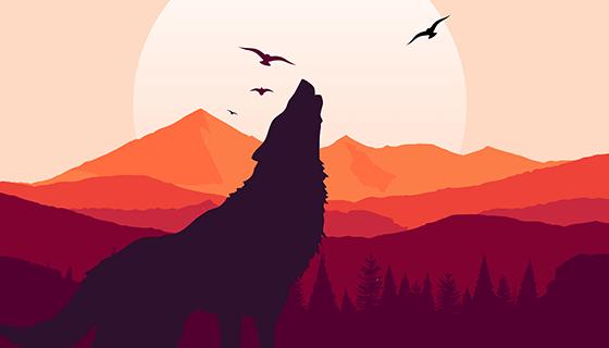 咆哮的狼矢量素材(EPS)