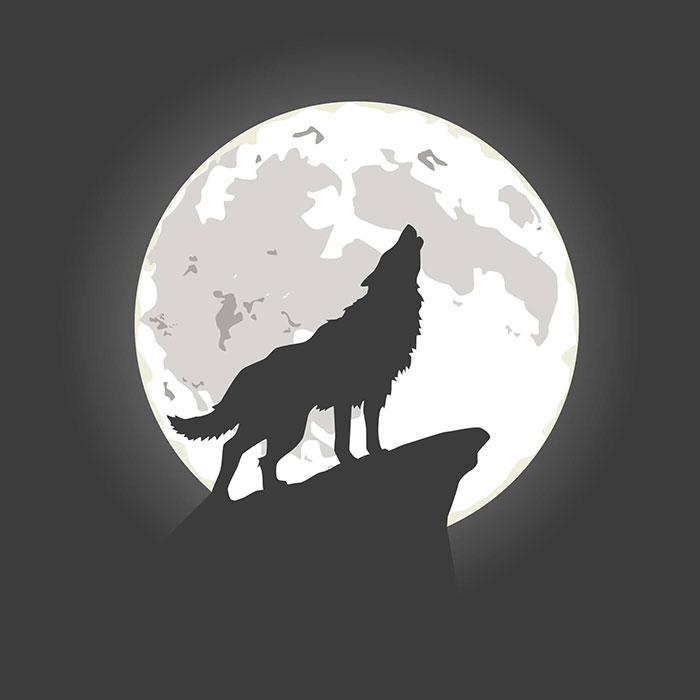 月亮下嚎叫的狼矢量素材(EPS/AI)