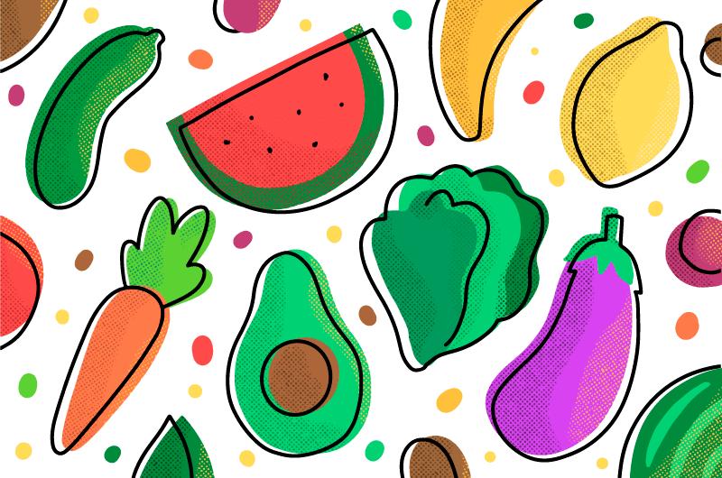 手绘水果蔬菜背景矢量素材(AI/EPS)