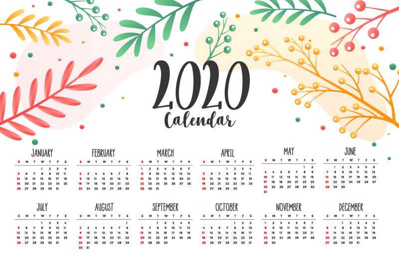 多彩花卉叶子2020年日历矢量素材(EPS)