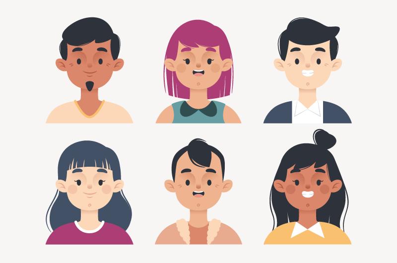 扁平风格人物头像矢量素材(AI/EPS/免扣PNG)